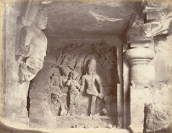 Shiva and Parvati. Figures near the Water Cave, Caves of Elephanta